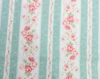 RURU Bouquet Rose For You  Cotton Fabric Quilt Gate RU2220-14C Rose Stripes PinkMint Cream