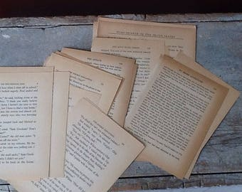 bundle of aged vintage book pages; bundle of 25 aged book pages