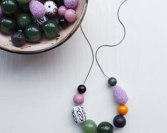 rainy day appointment with color - necklace - vintage remixed beads - forest green, purple, black and white