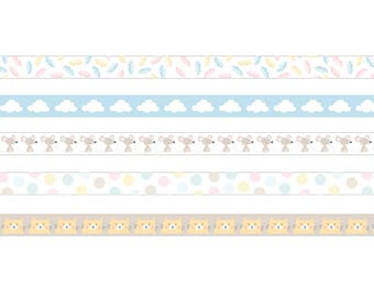 Set of 5 Masking Tape decorative cloud - cat - feathers - mouse - adhesive - tape sticker Ribbon