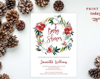 Editable Winter Wreath Baby Shower Invitation, Christmas Watercolor Floral Invite, Calligraphy Template, Red, Green, White, MAM111