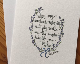 An Original Pen and Ink and Watercolor Note Card with Scripture