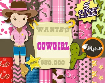 "SALE Cowgirl Digital Paper + Clipart : ""Cowgirl Digital Paper"" - Western Paper, Cowgirl Birthday Invitation, Western, Cowgirl Printable"