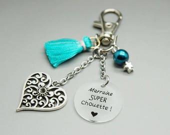 """porte clé pompon bleu turquoise cabochon """"Marraine super chouette"""" coeur - cadeau personnalisable - godmother gift"""