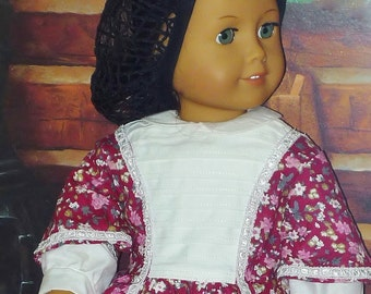 Little Women Day Dress and Snood  - 1860s -  Fits American Girl Dolls