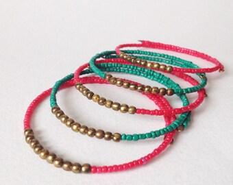 Ethical Minimalist Bracelet in Dark Pink