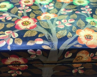 Beautiful lacquered altar box with some age depicting the 'tree of life'