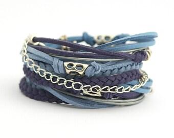 Navy Blue Denim Wrap Bracelet, Blue Wrap Boho Bracelet, Hippie Jewelry, Autumn Colors, vegan bracelet, gift for aunt, gift for her