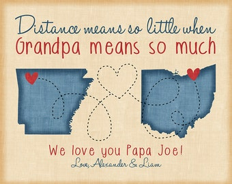 Grandpa Quote, Gifts for Grandfather from Grandchildren, Choose Any Two Maps, Long Distance, Christmas Ideas, Guy Gifts for Him | WF505