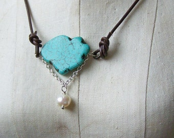 50 % OFF Leather, Pearl, Turquoise, Turquoise Freshwater Pearl, Leather Cord Necklace, Sundance Style, Etsy, Etsy Jewelry, Beaded Necklace