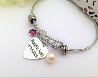 GRANDMOTHER OF GROOM Gift, Grandmother of Bride Gift, Grandma Gift, Gift for Grandmother, Gift for Grandma Worlds Best Grandma Bracelet