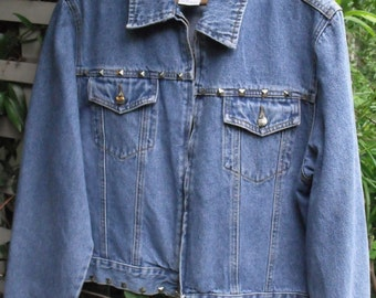 XL Denim Jacket/ Retro Denim with Metal Studs/ Plus Size Vintage Denim/ Shabbyfab Funwear