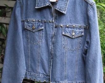 XL Denim Jacket/ Retro Denim with Metal Studs/ Plus Size Vintage Denim/ Shabbyfab Funwear