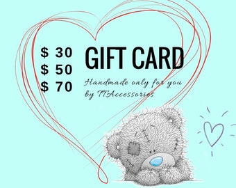 Gift Card Gift Certificate 30 50 70 dollars - You can print or email Last Minute Gift for Christmas Birthday Anniversary Valentine's Day