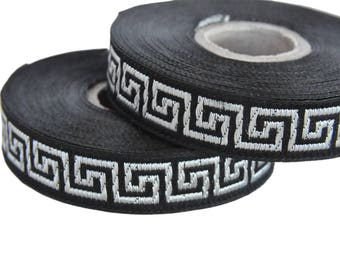 Black and Silver 15mm  Greek Key Jacquard Ribbon Trim,Supply, 1 roll 10 meters