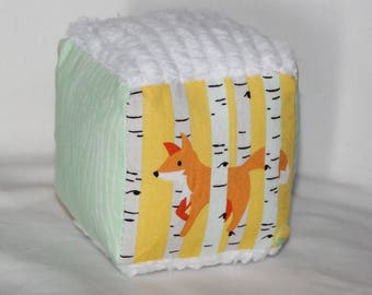 Small Yellow and Aqua Good Natured Foxes Fabric Chenille Block Rattle