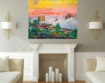 Pittsburgh Skyline art, Pittsburgh wall art, Pittsburgh Sunrise, Sunrise art, Johno Prascak, Johnos Art Studio