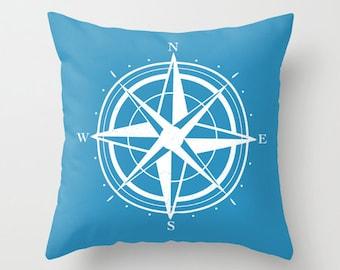 Compass Pillow Cover - Blue - Modern Pillow Cover - Compass Graphic Pillow - Nautical Home Decor - By Aldari Home