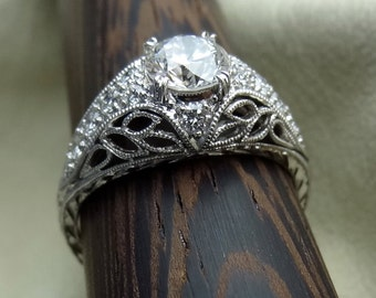 Antique Style Filigree Ring Hand Engraved Certified Diamond Hand Made Engagement 18k White Gold Available Now