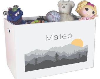 Personalized Open Toy Box with Misty Mountain Design YBIN-245