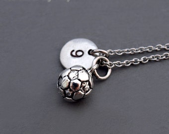 Soccer ball necklace, soccer charm, foot ball necklace, Soccer team number, initial necklace, personalized, antique silver, monogram