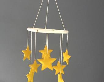 Handmade Golden Yellow Star Mobile, Gender Neutral Nursery Mobile, Star Mobile, Nursery, Baby Mobile, olive + bo - MADE TO ORDER