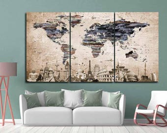 World Map Wall Art,Large World Map,Vintage World Map,World Map Canvas,Push Pin Map Canvas,Travel Map Canvas,World Map Art,Old World Map Art