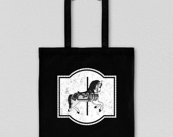 Carousel, tote bag, carousel horse, black tote bag, canvas tote bag, white tote bag, bridesmaid gift, carousel gift, personalized tote