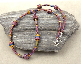 Glass Bead Necklace Mauve Blue Gold Hues Silver Clasp Designer Jewelry