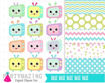 Kawaii TV Clipart Set, Cute Nursery, Digital Paper Pack -D392