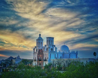 San Xavier del Bac Mission, Matted 5x7 Photo