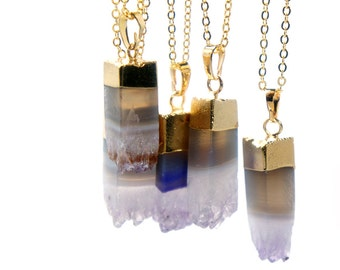 Amethyst Square Crystal Point Necklace - Druzy Necklace - Mineral Jewelry - Healing Stone Natural Stone Necklace - Modern Minimalist Jewelry