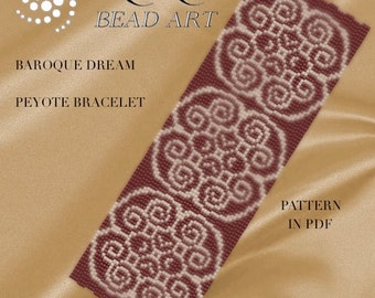 Peyote Pattern for bracelet - Baroque dream peyote bracelet pattern in PDF instant download