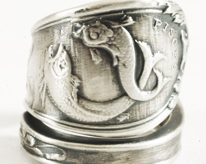 Pisces Ring, Sterling silver Spoon Ring, Double Fish Ring, Zodiac Ring, Horoscope Ring, Pisces Jewelry, Astrology Ring, Adjustable Size 3151