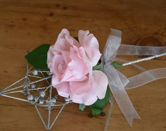 Pink rose wand, flower girl wand, bridesmaid flowers, silver wedding wand, wedding accessories, pink silk flowers, pink wedding flowers