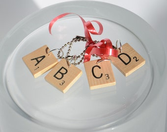 Scrabble Wine Glass Charms -  set of 4