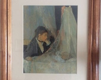 The Cradle Framed Print by artist Berthe Morisot - mother and child - 13 1/2 x 16 1/2