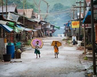 Umbrella Kids - Myanmar - Travel Photography - Street Photography