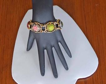 Beautiful Goldtone 5 link Multi-Color Enameled 7-1/2 Inch Bracelet Signed Celebrity