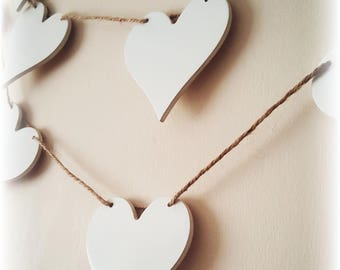 Wooden Heart Bunting, Heart Bunting, Rustic Wedding, Wooden Bunting, Wedding Bunting, Home Decor, Nursery Decor, Baby Gift, Shabby Chic