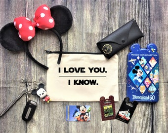 I Love You. I Know. Pouch / Cosmetic Bag, Bridesmaid Gift, Make Up Bag, Cosmetic Bag, Cosmetic make up, Bridesmaid Bag