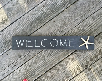 Welcome Sign, Coastal,Starfish,Beachy,Shells,Nautical, Beach