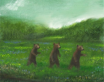 "Fine Art Print of an Original Animal Painting: ""Hamilton's Field"""