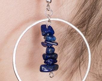 Lapis Lazuli Hoop Earrings - Dangle Chip Crystal