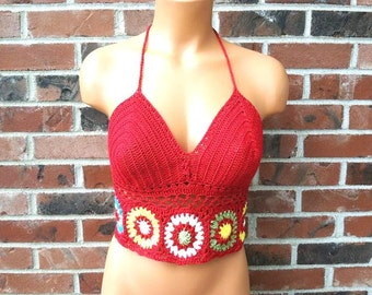 Crochet Halter Top, Crop Top, Hippie Top, Festival Red Flower Halter Top by Vikni Designs
