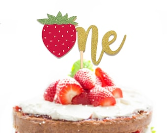 "1 pc ""One Strawberry"" script Gold Glitter Cake Topper for first Birthday Baby girl fruit summer cake smash party"