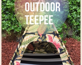 "Outdoor Pet Teepee - LARGE 36"" base for medium - large dog - custom made to order"