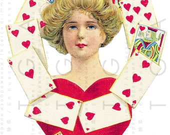 QUEEN Of HEARTS ! Adorable Edwardian Valentine. Digital Valentine's Day Card. Digital Valentine Download. Vintage Valentine Card.