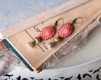 Coral Cabachon Flowers, Gold Czech Glass and Bell Flower Earrings
