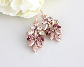 Rose Gold earrings, Bridal earrings, Bridal jewelry, Blush crystal earrings, Crystal cluster, Swarovski crystal earrings, Statement earrings